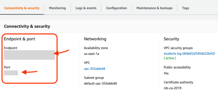 AWS database connectivity page