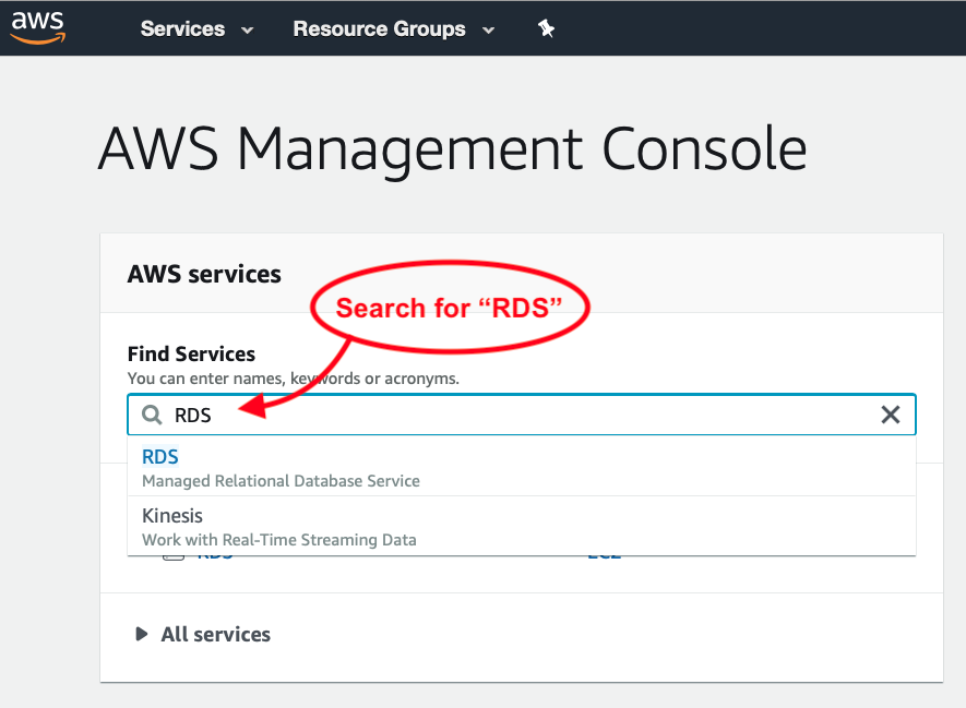 Search for RDS in AWS Console