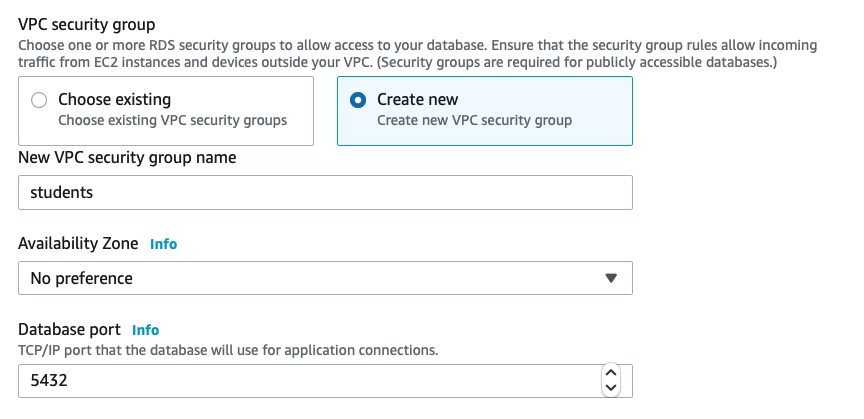 Security group settings