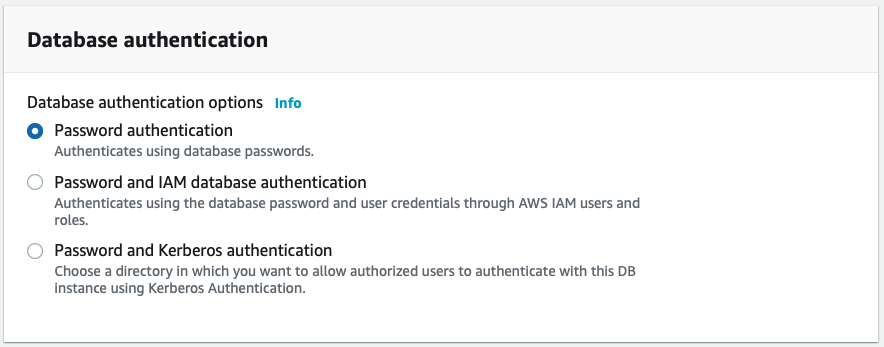 Database authentication options