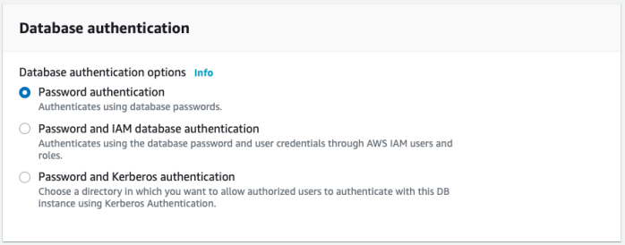 Database authentication options